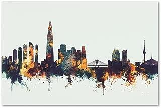 Seoul Skyline South Korea V by Michael Tompsett, 16x24-Inch Canvas Wall Art