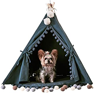 little dove Pet Teepee House Indian Tents Wood Canvas Tipi Fold Away Pet Tent Furniture Cat Bed