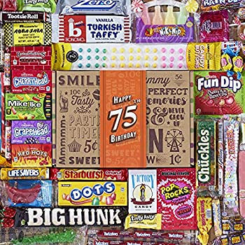 VINTAGE CANDY CO 75TH BIRTHDAY RETRO CANDY GIFT BOX - 1946 Decade Childhood Nostalgia Candies - Fun Funny Gag Gift Basket - Milestone 75 Years Birthday - PERFECT For Man Or Woman Turning Seventy Five