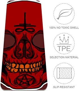 imobaby Satanic Skull Extra Thick Yoga Mat - Eco Friendly Non-Slip Exercise & Fitness Mat Workout Mat for All Type of Yoga, Pilates and Floor Exercises 72x24in