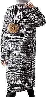 KIKOY Womens Winter Wool Cloth Lattice Warm Thickening Plus Size Long Coat Sale