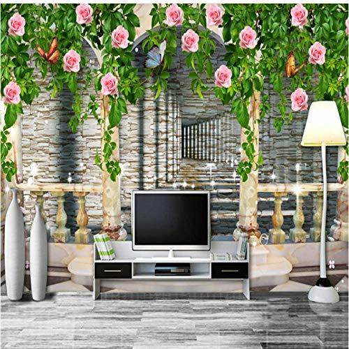 Pbbzl 3D Wallpaper Populaire Rose Bloem Woonkamer Tv Bank Decoratie Achtergrond Behang Hoge Kwaliteit Mural 120 cm.