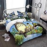 REALIN Bettwäsche Mein Nachbar Totoro Bettbezüge Set 3D Karton Totoro Muster Enthält Bettbezüge/Kissenbezüge/Bettlaken,Geschenk Für...