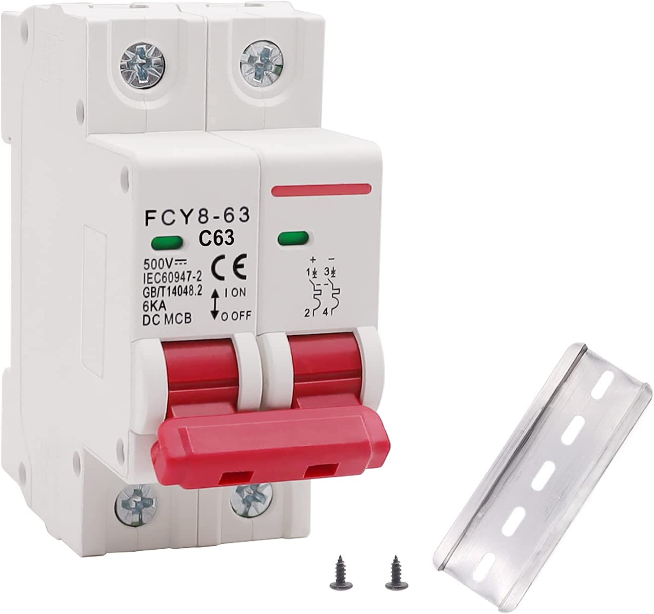 smseace Low-Voltage DC Miniature Circuit Breaker, 63A 2P DIN Rail Mounted Miniature Air Circuit Breaker, Suitable for Solar Panels Grid System.FCY8-63-C63-2P : Everything Else