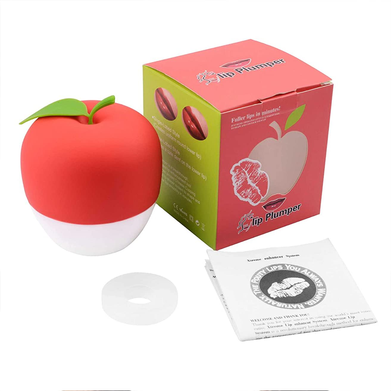 Leoie Lip Plumper Enhancer Device, Hot Sexy Full Mouth Quick Beauty Lip Pump Enhancement Green Double or Red Single Lobbe (Red)
