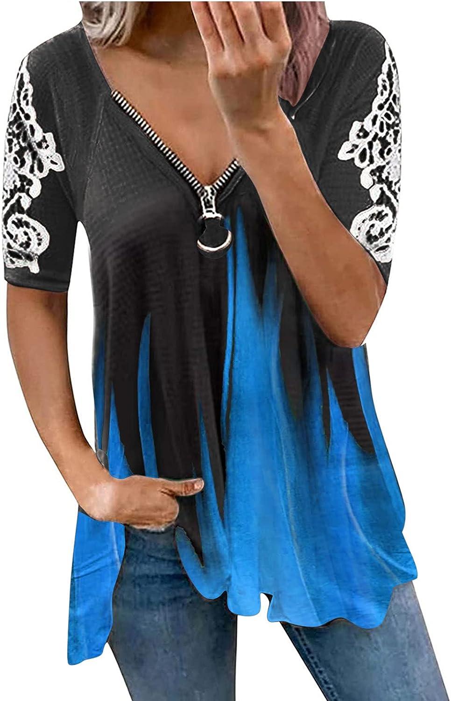 Women Fashion V-Neck Tie-Dye Lace Printed Short Sleeve Zipper Neck Top T-Shirt Summer Tops Tee Shirts Blouse