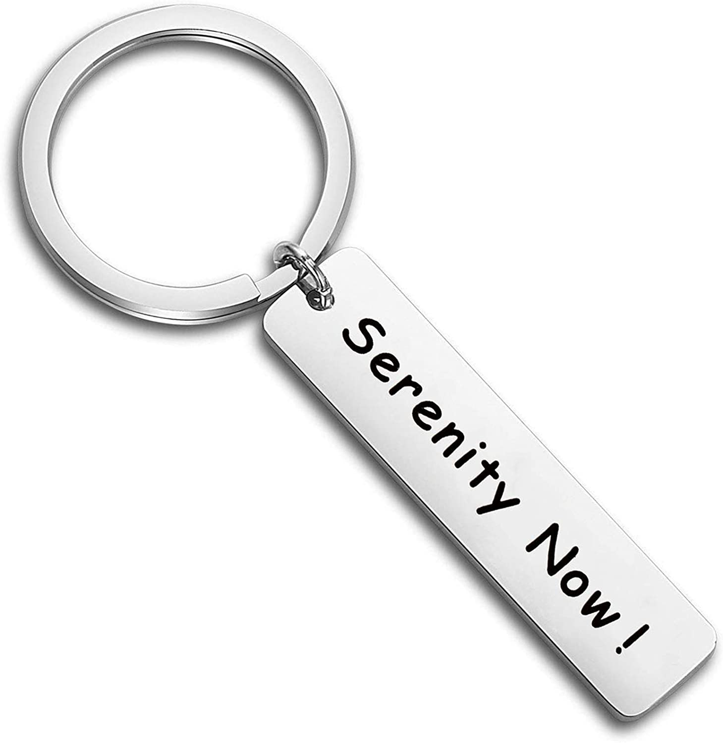 FEELMEM Relaxing Handstamped Key Chain Serenity Now Keyring Gift for Best Friend Family Jewelry