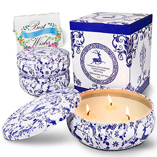 Citronella Candles Outdoor and Indoor 14.5 oz x 3 , TRINIDa Scented Candles Organic Pure Soy Wax Portable , Each Travel Tin Candle with Strongly Fragrance for Stress Relief, Pack of 3 Candle Gift Set