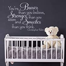 Diggoo Christopher Robin Wall Decal Quote You are Braver Than You Believe Stronger Than You Seem Smarter Than You Think Girls Room Decor (White,17