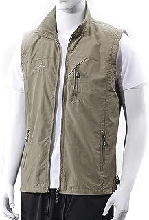 Summer Men's vest Thin Coat Breathable Thin Men's Fishing vest Multi-Pocket vest (Color : Khaki, Size : XXXL)