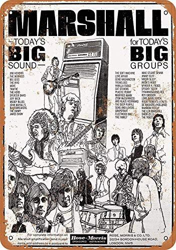 1968 Marshall versterkers metalen bord grote aluminium tin teken 8x12 inch