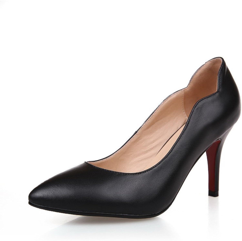 AllhqFashion Women's Closed Pointed Toe Stiletto High Heels PU Pumps with Platform
