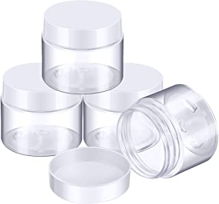 4 Pieces Round Clear Wide-mouth Leak Proof Plastic Container Jars with Lids for Travel Storage Makeup Beauty Products Face...