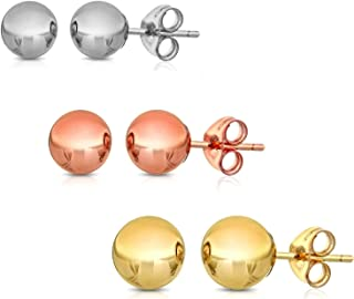 14K Solid Gold Ball Stud Earrings (3-Pair-Pack) 3MM 4MM AND 5MM… Choose a color