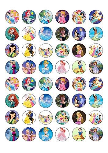 Assortiment de 48 Princess plaquette comestibles Papier Cake Toppers décorations Motif La Reine des neiges