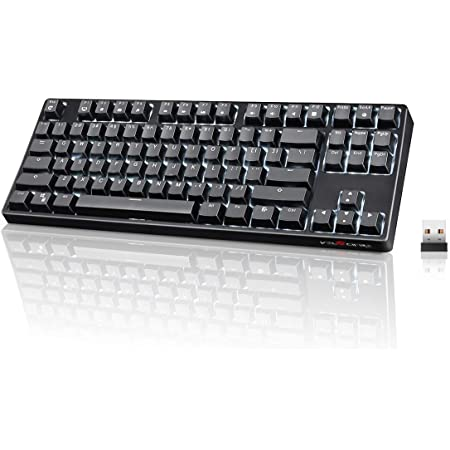 Wireless Mechanical Keyboard, VELOCIFIRE TKL02WS 87 Key Tenkeyless Ergonomic with Brown Switches, and White LED Backlit for Copywriters, Typists, and Programmers