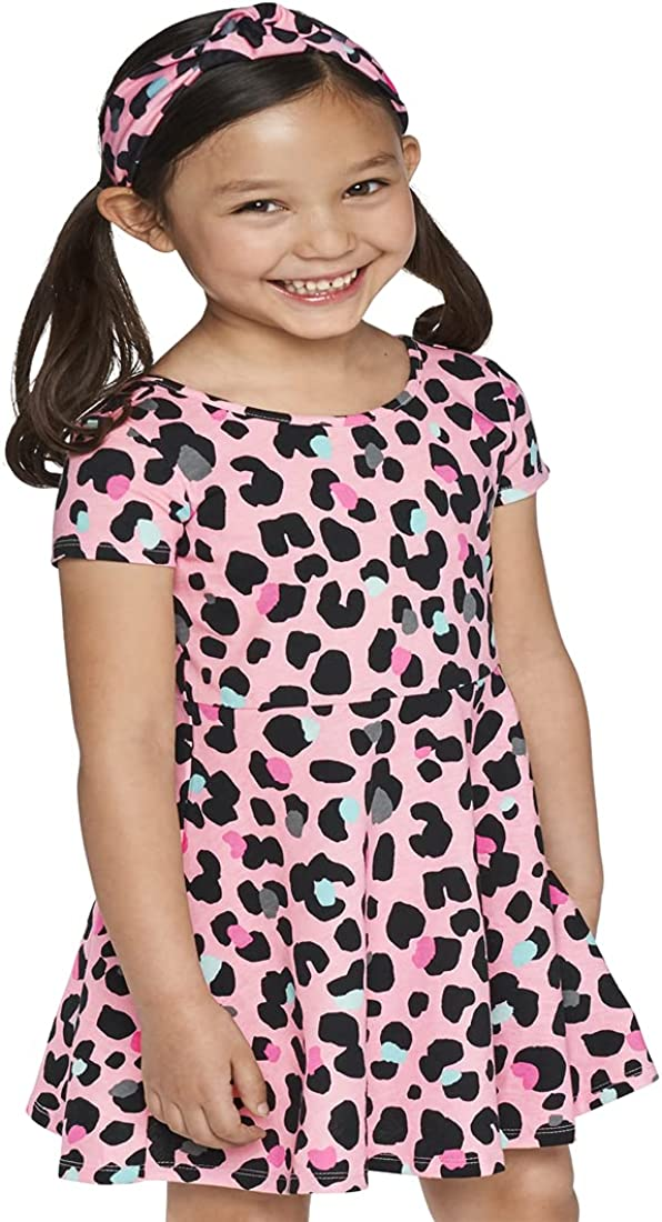 The Children's Place Baby Toddler Girl Short Sleeve Leopard Print Cut Out Knit Skater Dress