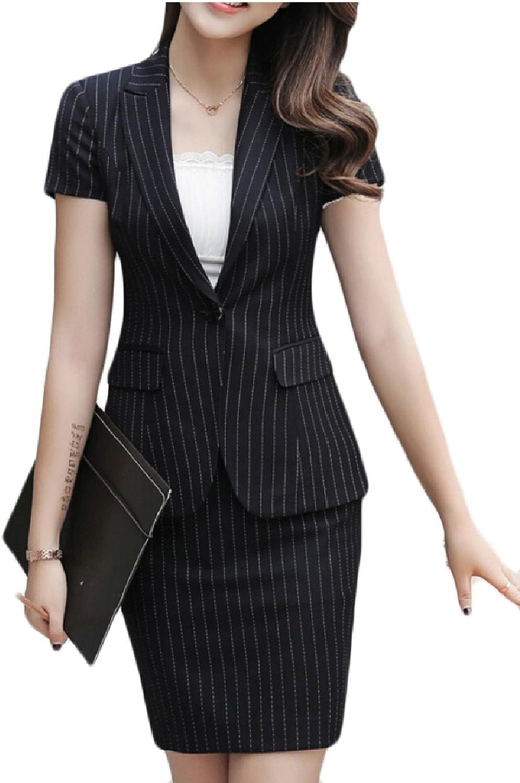 Yayu Womens 2 Piece Office Lady Business Suit Set Slim Fit Blazer