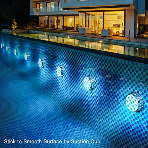 """LOFTEK Submersible LED Lights with Remote RF(164ft),Full Waterproof Pool Lights for Inground Pool with Magnets, Suction Cups,3.35"""" Color Changing Underwater Lights for Ponds Battery Operated (4 Packs)"""