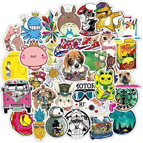 MENGYUAN Pegatinas de graffiti de dibujos animados no repetir, impermeables, pegatinas de personalidad para coche, monopatín