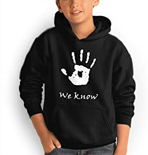 Quxiangy We Know Handprint Youth Kids Pullover Hoodie Sweatshirts Pocket Jackets