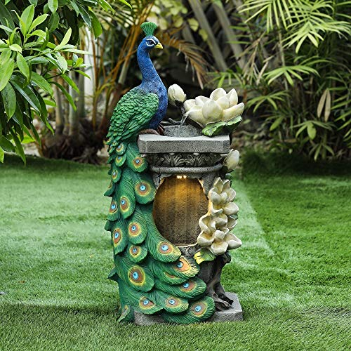 Winsome House Polyresin Peacock Patio Fountain with LED Light