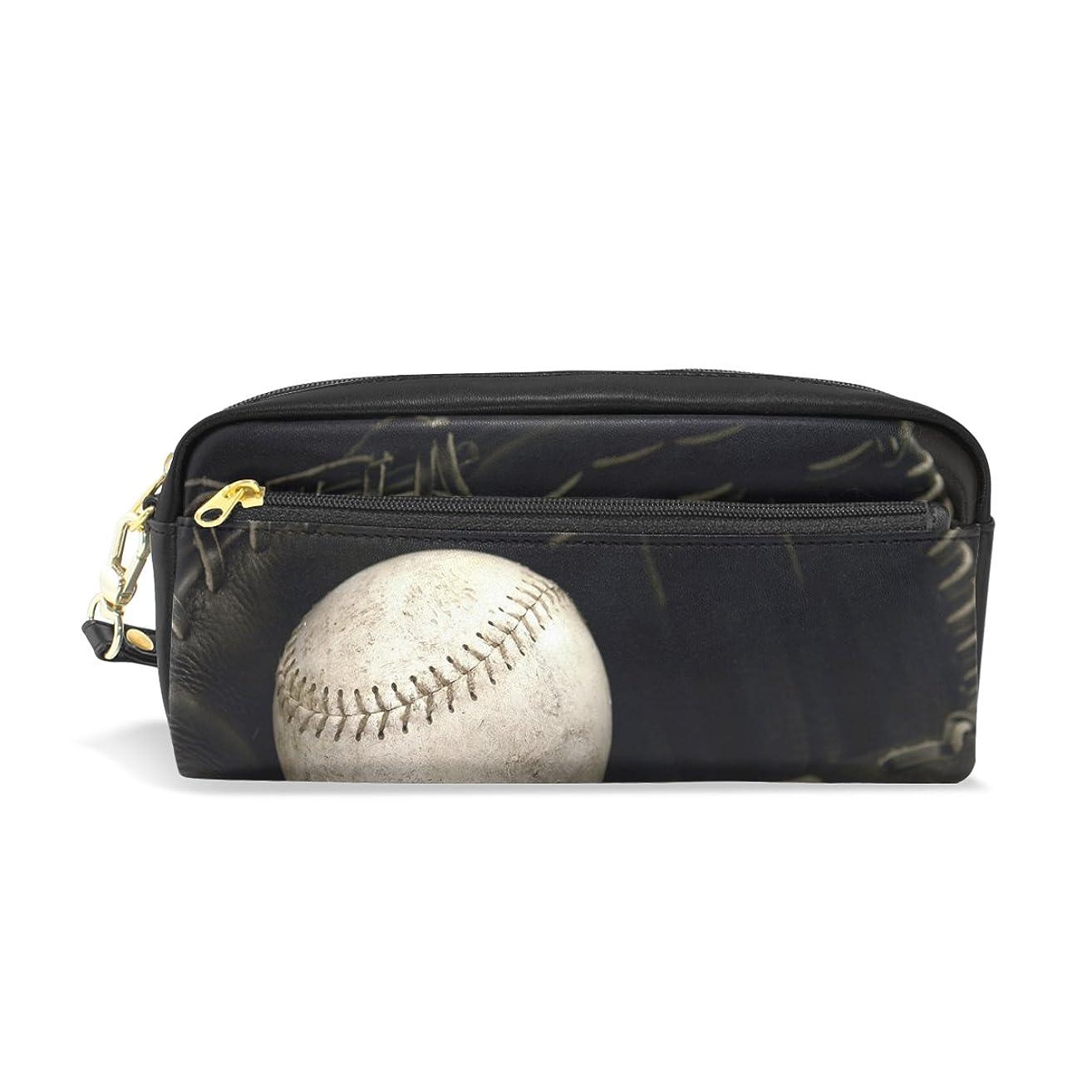 添加剤愛人現れるAOMOKI ペンケース 化粧ポーチ 小物入り 多機能バッグ レディース 野球 ブラック