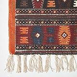 Homescapes Kelim-Teppich, handgewebt aus Baumwolle, 70 x 120 cm, bunter Baumwollteppich mit geometrischem Muster und Fransen - 2