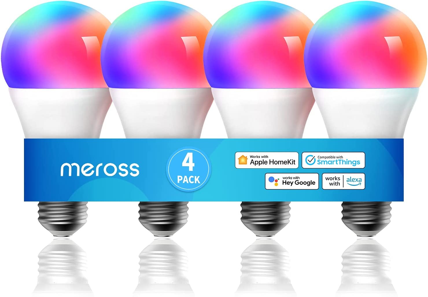 Smart Light Bulb, meross Smart WiFi LED Bulbs Compatible with Apple HomeKit, Siri, Alexa, Google Assistant and SmartThings, Dimmable E26 Multicolor 2700K-6500K RGB, 810 Lumens 60W Equivalent, 4 Pack