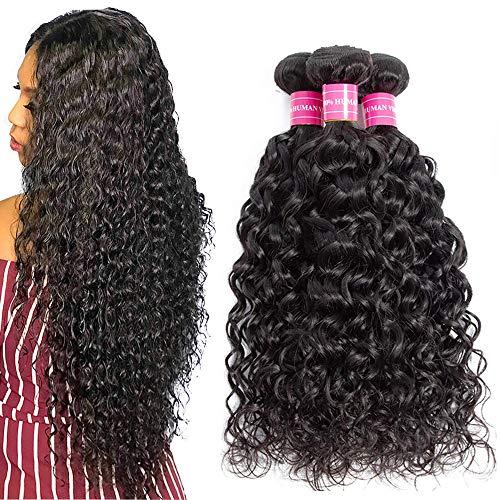Suerkeep Human Hair Deep Wave 3 Bundles Virgin Brazilian Deep Curly Hair Bundles Deals 100% Unprocessed Remy Weave Wet And Wavy Human Hair Extensions Weft (20 22 24, Natural Color)