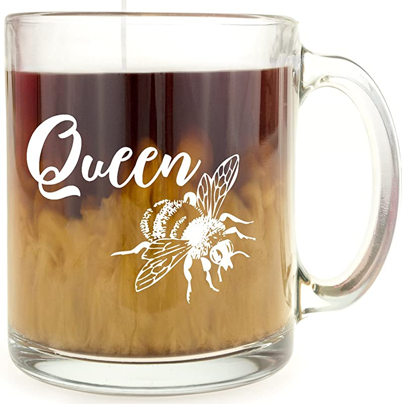 Queen Bee Glass Coffee Mug Makes A Great Gift For BFFs