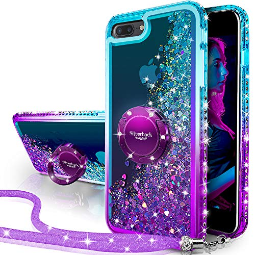 Silverback iPhone 7 Plus Case, iPhone 8 Plus Case, Moving Liquid Holographic Sparkle Glitter Case with Kickstand, Bling Diamond Bumper W/Ring Protective Case for Apple iPhone 8/7 Plus -Purple