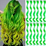 MEckily 12 Pcs Colored Hair Extensions Party Highlights, Curly Wavy Hairpiece Clip in Synthetic Streak for Kids Girls Women 17 inch(Green)