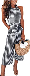 vermers Womens Long Bohemian Jumpsuits Summer Stripe Printed Sexy Trouser Casual Rompers