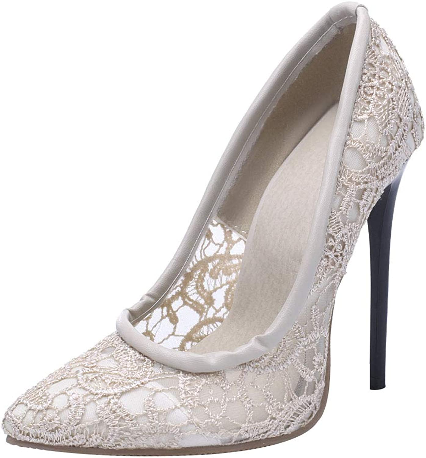 KIKIVA Women Lace High Heel Pumps Pointed Toe Stiletto Slip On Court shoes