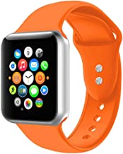 Sport Band Compatible with Watch 38mm 40mm,Soft Silicone Bracelet Strap Replacement Wristbands Compatible for iWatch Sport 44mm 42mm S/M M/L (Orange, 38mm/40mm S/M)