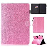 HülleFun Hülle für Huawei MediaPad T3 10, PU Leder Tasche Hülle Etui Schutzhülle für Huawei MediaPad T3 10 Zoll Tablet Hülle Cover Bookstyle Lederhülle mit Standfunktion Rosa
