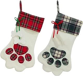 SherryDC Dog Cat Paw Christmas Stockings Set of 2, Plush & Plaid Hanging Socks for Holiday and Christmas Decorations