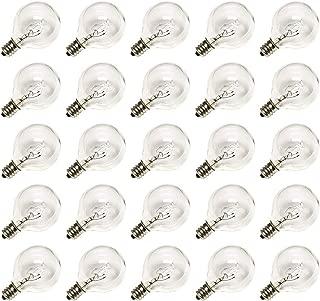 Clear Globe G40 Bulbs Replacement Screw Base Light Bulbs 1.5-Inch, 5 Watt - Fits E12 and C7 Sockets, 25 Pack