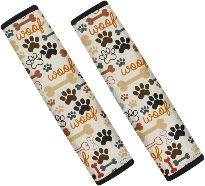 Xhuibop Long Beach Mall Dog Paw Print Car Ranking TOP14 Seat Safet Protector Belt Pcs Covers 2