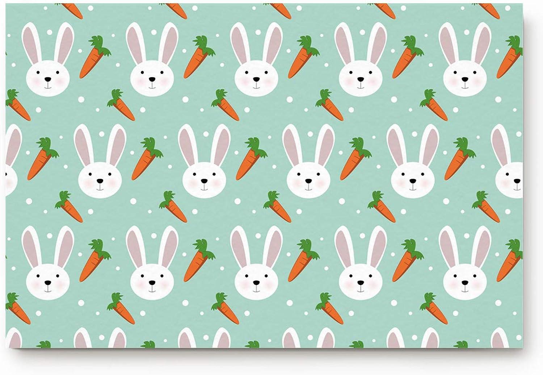 Prironde Indoor Doormat Welcome Mat Rabbit and Carred for Easter Theme Door Mats Non Slip Rug for Bathroom Kitchen Office Decor 20x31.5in