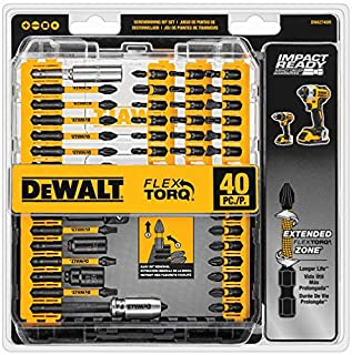 DEWALT Screwdriver Bit Set, Impact Ready, FlexTorq, 40-Piece (DWA2T40IR),Black/Silver IMPACT READY FlexTorq Screw Driving Set, 40-Piece (B00GMXFK3G) | Amazon price tracker / tracking, Amazon price history charts, Amazon price watches, Amazon price drop alerts