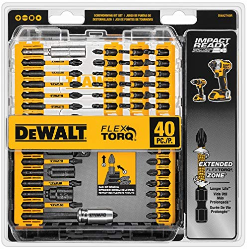 DEWALT Screwdriver Bit Set, Impact Ready, FlexTorq, 40-Piece (DWA2T40IR), Black/Silver Impack Ready FlexTorq Screw Driving Set, 40-Piece