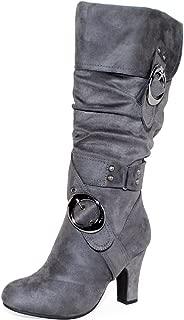 Women's Mid Heel Crossed Buckle Straps Boots