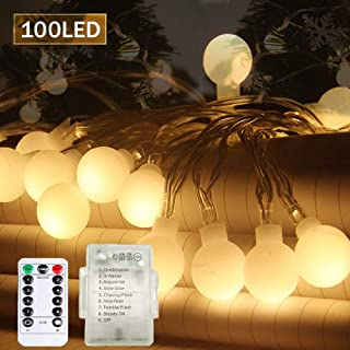 SPECOOL Guirnalda de Luces de Hada 39FT/10M 100Leds 8 modos impermeable con mando a distancia para interior exterior, dormitorio, jardín, luces decorativas de Navidad- Blanco cálido