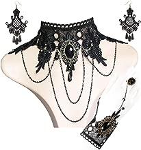 ATIMIGO Gothic Lolita Retro Lace Choker Necklace Earrings Bracelet Wristband Black Flower Ring Clothing Accessories for Women