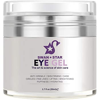 SWAN STAR Eye Gel, Natural Anti Aging Under Eye Cream Gel with Hyaluronic Acid for Dark Circles, Puffiness, Wrinkles, Skin Firming and Bags - 1.7 oz / 50 ml