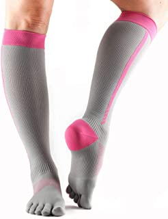 ToeSox Women's Zoe Performance Five Toe Compression Toesocks for Sport, Gym, Running, and Recovery