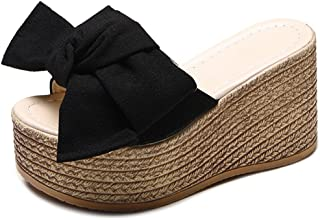 Wedges Flip Flops Sandals for Women,Sweet Bow Thick Bottom Beach Slipper Shoes