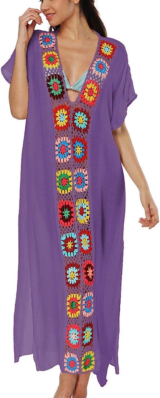 70s Jackets, Furs, Vests, Ponchos Bsubseach Women Floral Patchwork V Neck Bathing Suit Cover Up Short Sleeve Beach Dress  AT vintagedancer.com